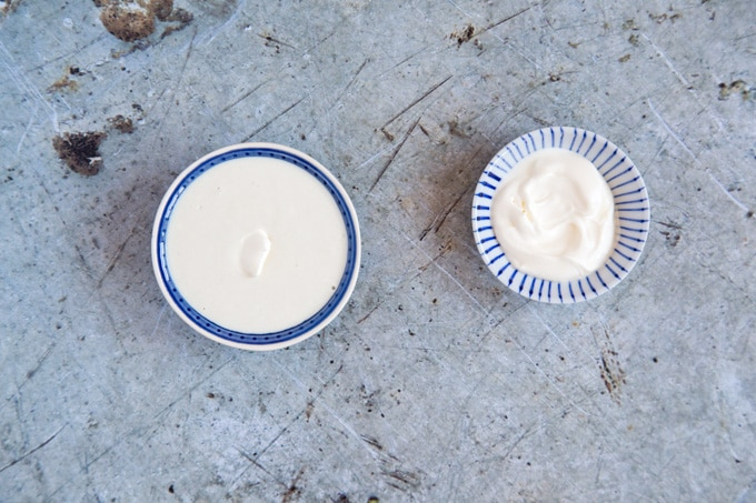 Blue patterned bowls of yogurt tahini dressing and nautral yogurt on a distressed metal background and