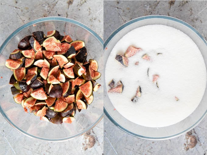 A bowl of cut up figs and te same bowl covered in sugar