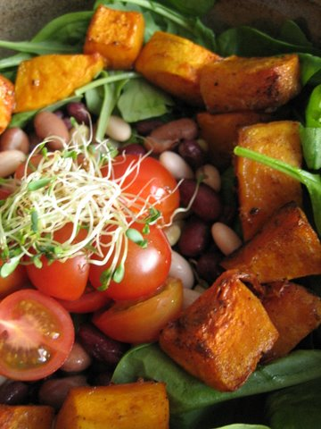 Mixed bean and roasted butternut squash salad