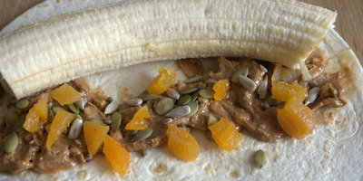 Banana Breakfast Wrap Unrolled