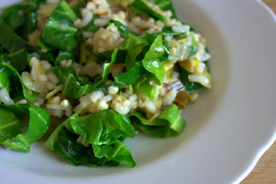 Buckwheat and rice risotto with greens and leek