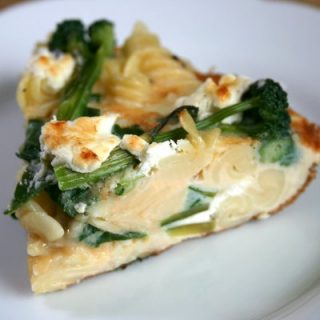 Greens, Goat's Cheese and Pasta Frittata