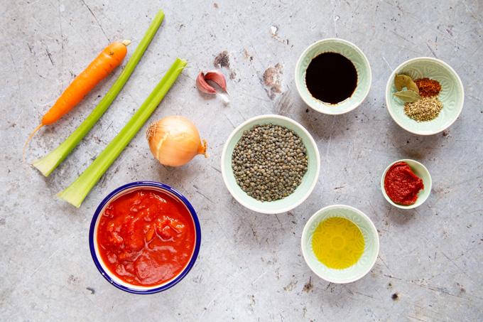 The ingredients for lentil ragu.
