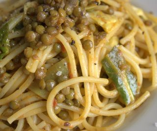 Spicy Lentil and Cabbage Spaghetti
