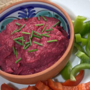 A beautiful deep red dip, a twist on hummus, containing a portion of extra veg
