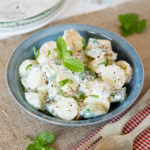Healthy no mayo potato salad with cucumber & mint