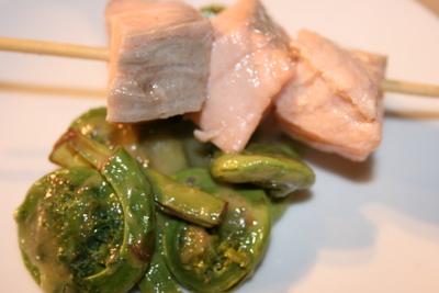 Poached Salmon and Fiddleheads