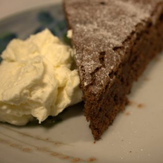 Almost One Step Chocolate & Ginger Cake with Brandy Cream