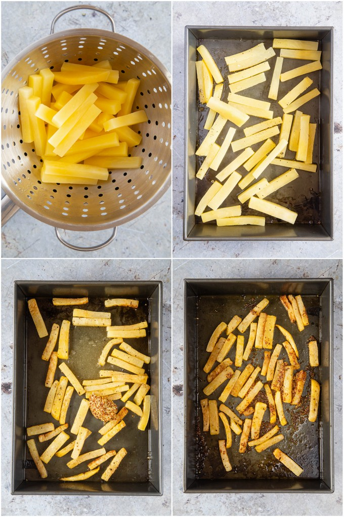 Four photos from above showing the stages of swede chips.