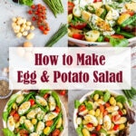 Four images of egg and potato salad