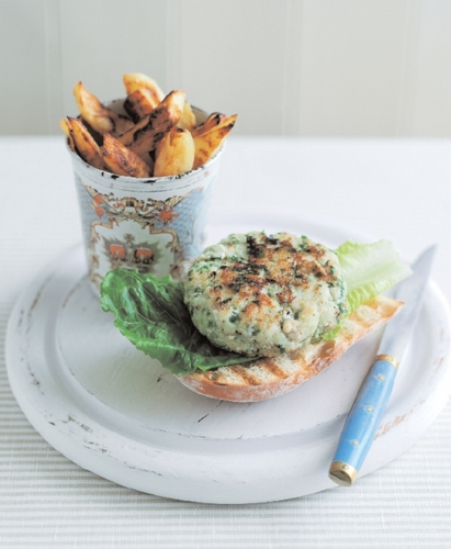Easy to make fish burgers made from white fish and flavoured with herbs, capers and cornichons