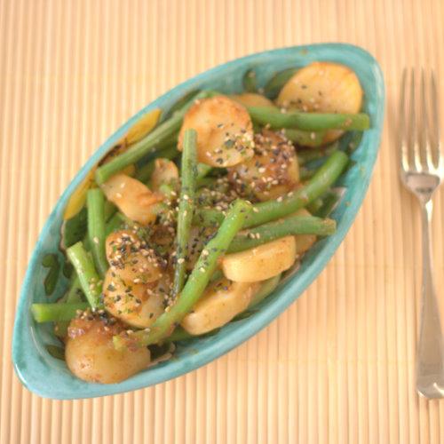 Miso potato salad with green beans and furikake