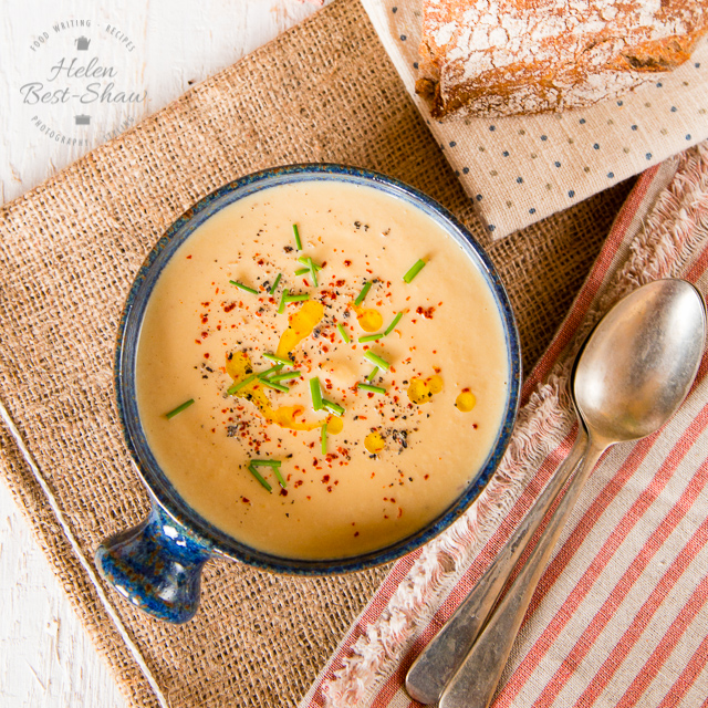 This is a perfect recipe for spring; butternut squash soup with lemon and tahini. Light and delicious with a velvet smooth texture.