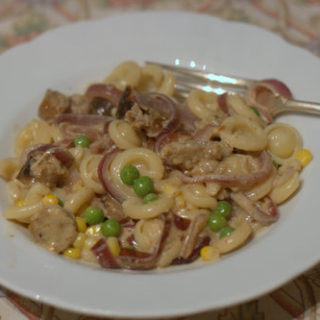 Recipe: Mustardy Sausage & Sticky Onion Pasta