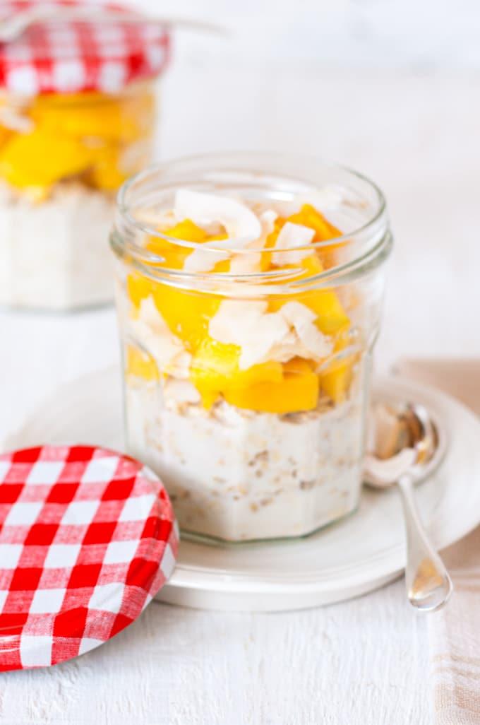 a jar of mango and coconut bircher muesli