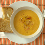 Thai coconut root vegetable and red lentil soup