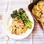 This easy recipe for a family friendly ham, mushroom & turkey pasta bake is perfect for using up Christmas or Thanksgiving leftover turkey