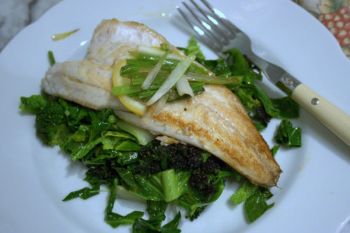 Sea Bass on Asian Greens