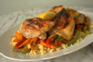 Lemon maple chicken thighs with cous cous and peppers