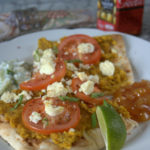 Naan bread, paneer and lentil pizza