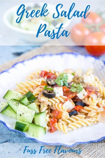Dinner can be on the table in less than 15 minutes with this easy after work supper dish, inspired by the classic Greek salad. This vegetarian Greek salad pasta dish will transport you the islands and villages of Greece.