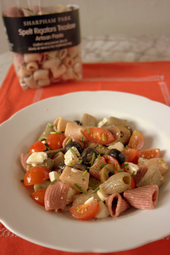 Greek Salad Pasta with Sharpham Park Spelt Pasta pack