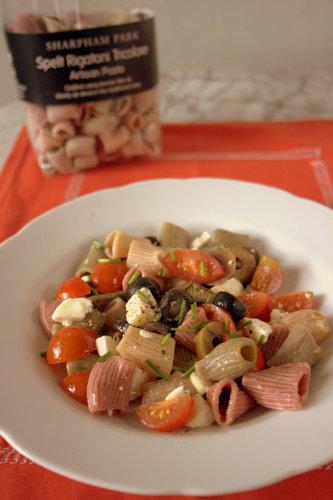 Greek Salad Pasta with Sharpham Park Spelt Pasta pack