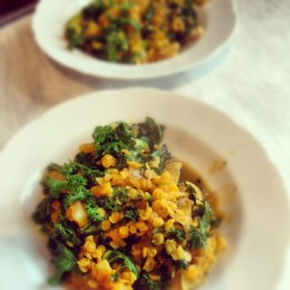 Quick Dal and Kale