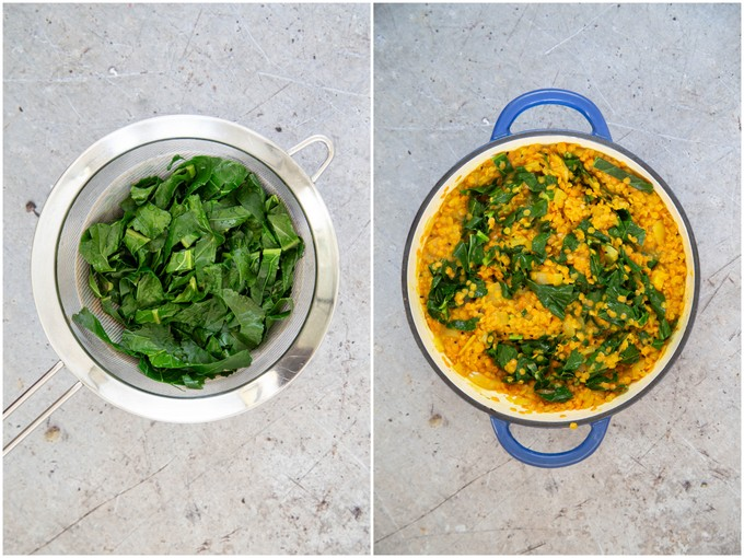 Top down collage of two images showing blanched greens in a sieve and stirred into a pan of dal.