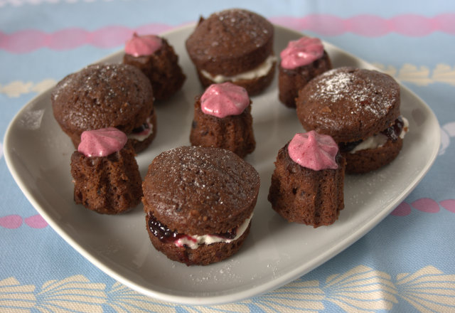 Mini chocolate and blackcurrant cakes and cannelles