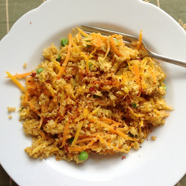 Egg fried cous cous is an easy twist on special fried rice. Ideal for using up unloved vegetables at the bottom of the fridge