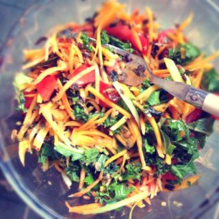 Vegetable Salad with miso dressing and seaweed