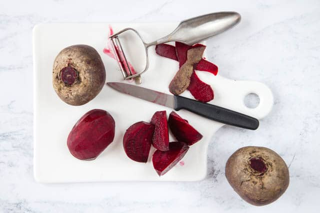 Peeled and sliced beetroot, ready for our delicious smoothie.