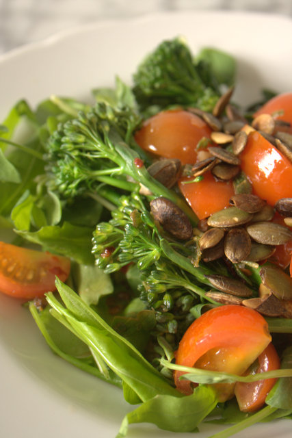 Tenderstem Broccoli Salad with semi confit tomatoes