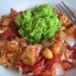 Baked Tomato, Mackerel & Chickpea Risotto with Pea Puree