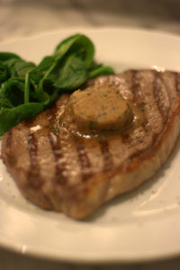 Steak with herb miso butter