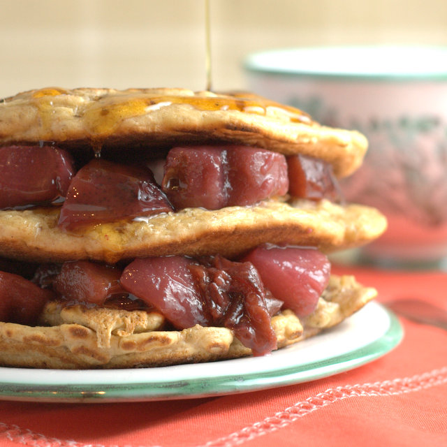 Left over christmas pudding pancakes with port poached pears