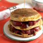 Leftover Christmas pudding pancakes with port poached pears