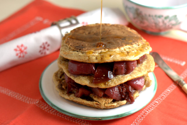 Leftover christmas pudding spelt pancakes leftover christmas pudding pancakes with port poached pears forumfinder Image collections