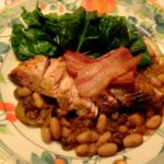 Pheasant with beans, prunes and apple