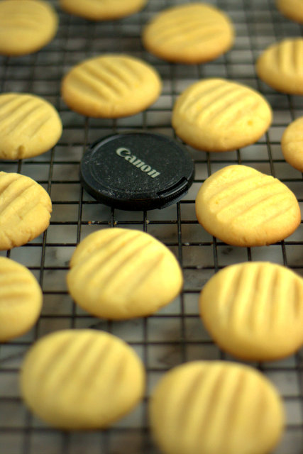 Lemon fork biscuits and lens cap