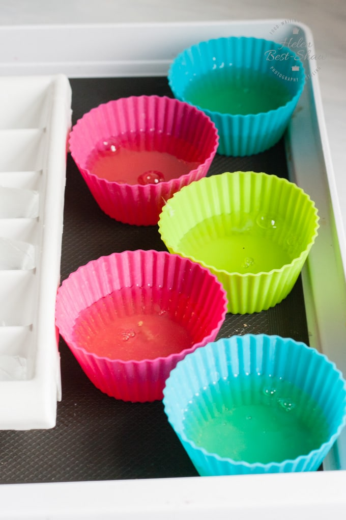 colured silicone muffin cases filled with egg white