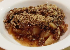 Pear-Chocolate-Ginger-Crumble for Credit Crunch Munch