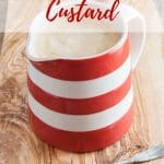 A red and white jug of custard. Text overlay reads Power Blender Custard
