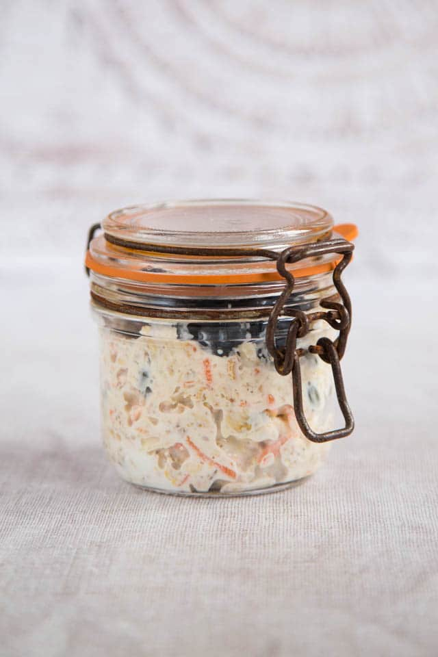 Overnight oats with carrot in a jar - grab and go for an easy breakfast to take to work