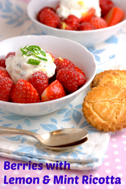 Berries with mint and lemon ricotta