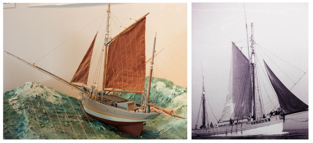Model and photo of old fishing boats in Etel Tuna Museum