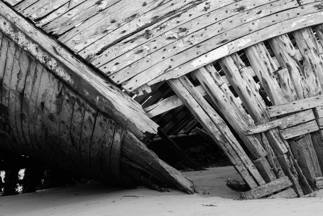 Old Tuna fishing boats abandoned on the beach