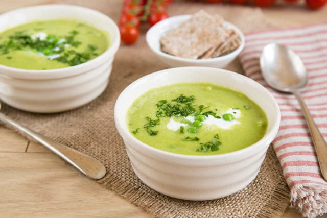 Fat free iceberg lettuce soup with peas, made in the power blender.