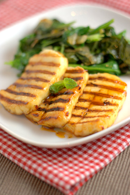 Honey Fried Halloumi and sauteed greens